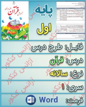 دانلود طرح درس سالانه قرآن پایه اول ابتدایی